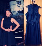 Модное летнее черное бальное повседневное платье с зауженной талией